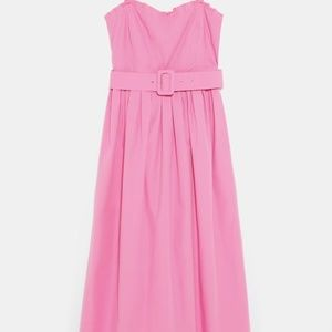 NWT Size S Zara Pink Belted Dress